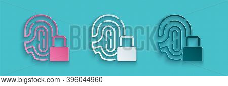 Paper Cut Fingerprint With Lock Icon Isolated On Blue Background. Id App Icon. Identification Sign.