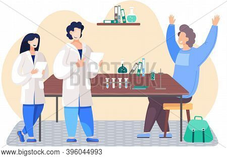 Scientific Research. Equipment On The Table. Smiling Man Conducting An Experiment. Guy Rejoices And