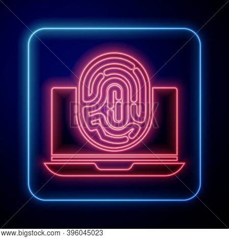 Glowing Neon Laptop With Fingerprint Icon Isolated On Blue Background. Id App Icon. Identification S