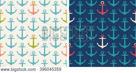 Vector Set Patterns With Anchor In Retro Style. Vector Vintage Seamless Pattern In Marine Style With