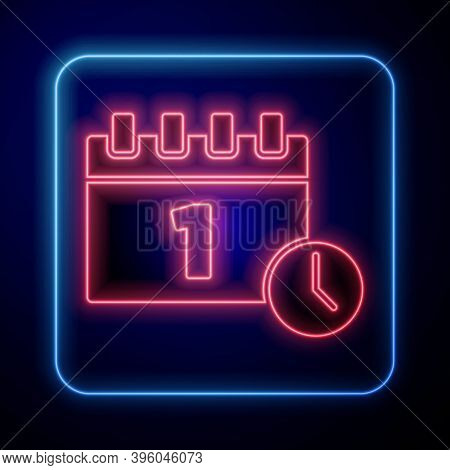 Glowing Neon Calendar With First September Date Icon Isolated On Blue Background. September 1. Date