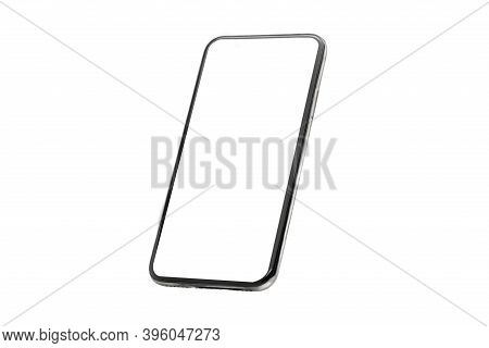 Mobile Phone Mockup Isolate On A White Background With A Blank Screen. Mobile Phone Frame