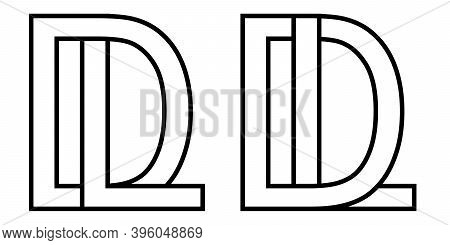 Logo Ld Dl Icon Sign Two Interlaced Letters L D, Vector Logo Ld Dl First Capital Letters Pattern Alp