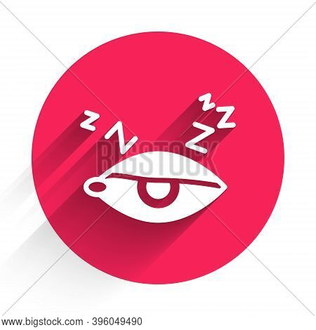 White Insomnia Icon Isolated With Long Shadow. Sleep Disorder With Capillaries And Pupils. Fatigue A