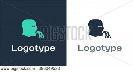 Logotype Vomiting Man Icon Isolated On White Background. Symptom Of Disease, Problem With Health. Na