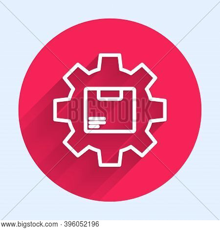 White Line Gear Wheel With Package Box Icon Isolated With Long Shadow. Box, Package, Parcel Sign. De