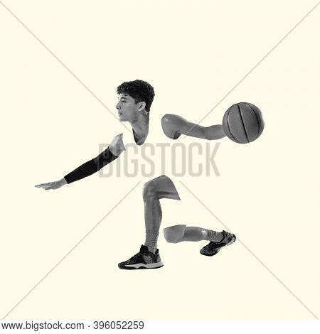 Basketball Player. Young Caucasian Sportsman Isolated On Studio Background, Modern Artwork. Healthy