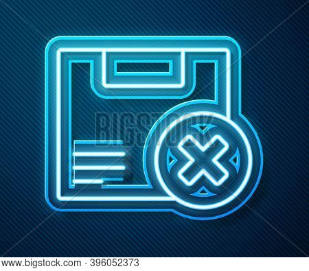 Glowing Neon Line Carton Cardboard Box And Delete Icon Isolated On Blue Background. Box, Package, Pa