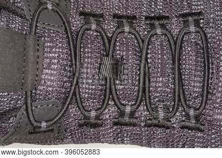 Shoe Lacing With Elasticized Round Shoelace Without Requiring A Knot, Fragment Of The Men's Black Ru