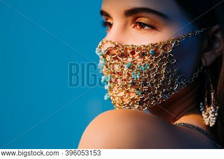 Pandemic Jewelry. Oriental Style. Covid-19 Party Look. Portrait Of Tender Woman With Festive Makeup