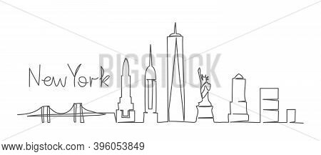 New York One Line Drawing New York Illustration In Line Style On White Background