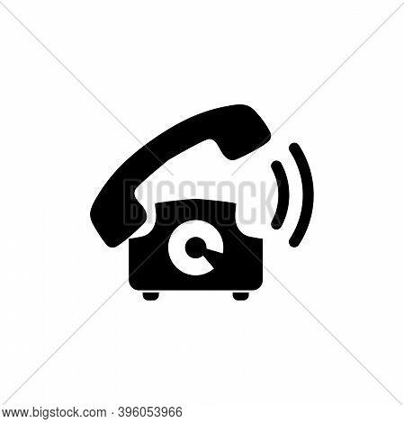 Old Telephone Ringing, Phone Call. Flat Vector Icon Illustration. Simple Black Symbol On White Backg