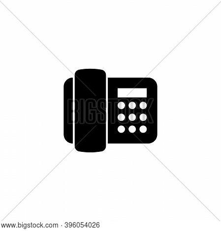 Electronic Telephone, Phone Fax Machine. Flat Vector Icon Illustration. Simple Black Symbol On White