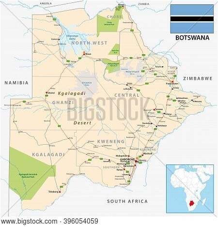 Road And Administrative Vector Map Of Botswana