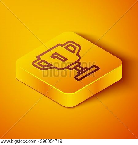 Isometric Line Award Cup Icon Isolated On Orange Background. Winner Trophy Symbol. Championship Or C