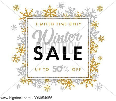 Winter Sale With Calligraphy Text -- Limited Time Only, Up To 50% Off. Merry Christmas Sale Banner,