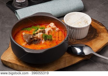 Popular Thai Tom Yam Soup With Seafood And Rice