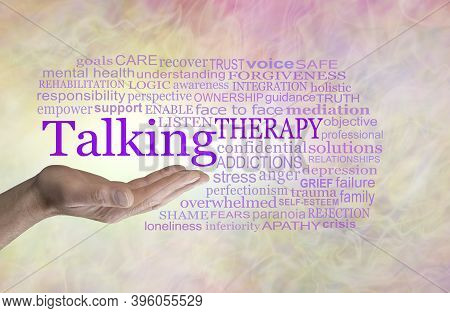 Words Associated With Talking Therapy Word Cloud - Man's Open Palm Hand With The Word Talking Above