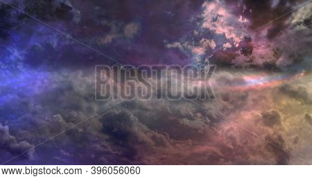 Awesome Ethereal Celestial Cloudscape Background  - Beautiful Blue Pink Purple Green Lilac Heavenly