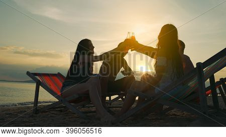 Group Friend Drink And Drunk Clinking Beer Alcohol Enjoy Life Freedom Beach At Evening, Attractive T