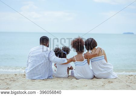 Ethnicity Happy Family Africans Enjoy Relaxation Resting On The Beach Summer Vacation Time Happiness