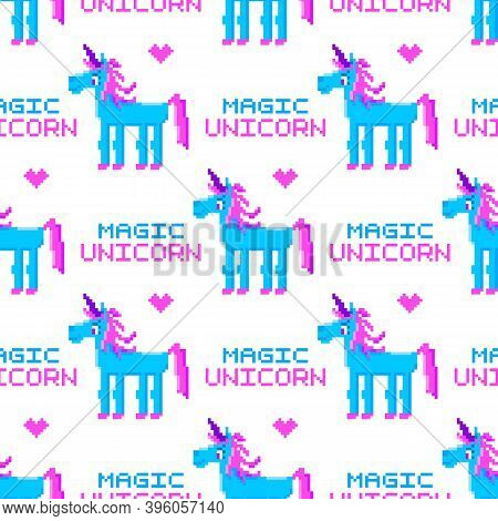 Seamless Pattern With Magic Unicorn, In The Eight Bit Style, On A White Background. Beautiful Print