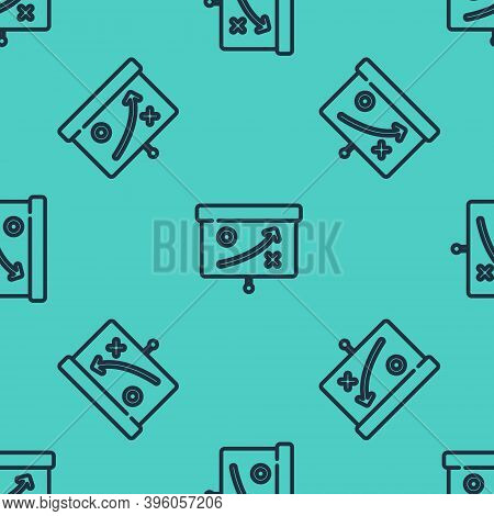 Black Line Planning Strategy Concept Icon Isolated Seamless Pattern On Green Background. Cup Formati