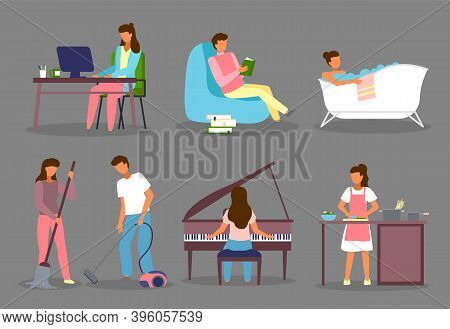 Set Of Cartoon Characters. Woman Working With Computer. Man Reading Book. Girl Taking Bath. Couple C