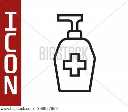 Black Line Bottle Of Liquid Antibacterial Soap With Dispenser Icon Isolated On White Background. Ant