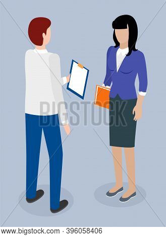 Isometric Image Of Back View Man With Clipboard And Business Woman In Formal Suit With Folder In Her