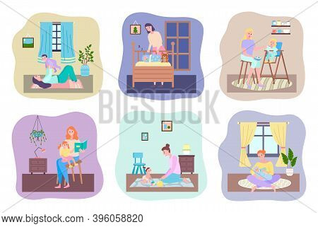 Mother And Baby, Playing With Son Lying On Floor On Carpet, Mom Looking At Sleeping Baby In Crib, Yo
