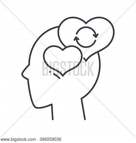 Empathy Mind Icon, Linear Isolated Illustration, Thin Line Vector, Web Design Sign, Outline Concept