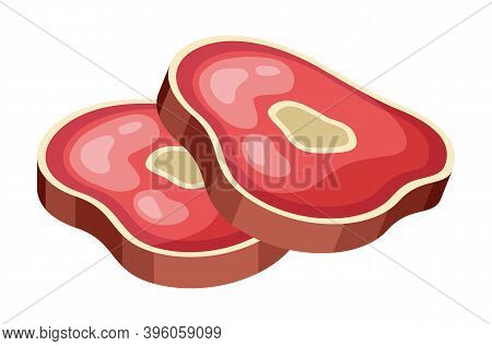 Slices Of Meat On Bone. Beef Slice Delicious Food. Protein Source. Lean Red Meat, Veal Icon In Flat
