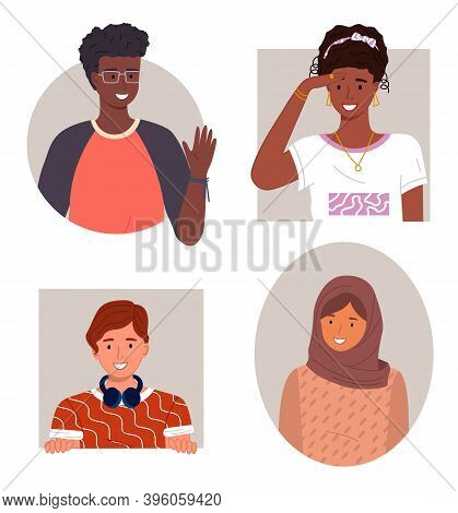 International People Avatars, Mix Races Young Guys And Girls, Diverse Nations, Ethnicity, Smiling Af