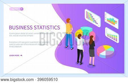 Landing Page Business Statistical Site. Team Faces Voluminous Pie Chart Diagram, Percentage Round Cy