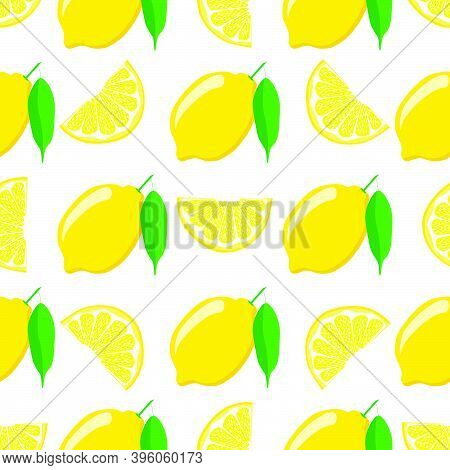 Illustration On Theme Big Colored Seamless Yellow Lemon, Bright Fruit Pattern For Seal. Fruit Patter