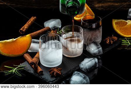 Shot Drinks, Refreshing Beverages At Frosted Glass. Delicious Alcoholic Drink. Glass Of Liquor Made