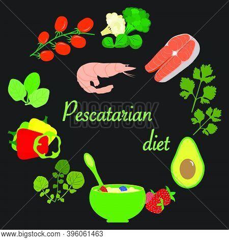 Vector Illustration Pescatarian Diet Organic Meal Planning Vegetarian Diet Food Healthy Lifestyle Pr