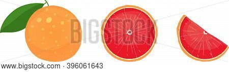 Whole Grapefruit With Leaves, Slice, And Wedge. Isolated Vector Illustrations.