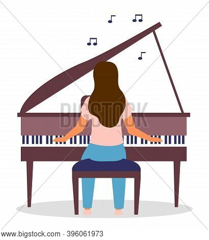 Isolated At White Background, Woman Playing Piano. Vector Cartoon Character Playing Music, Notes Ico