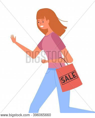 Woman With Shopping Bag In Her Hands Goes After Purchases. Young Beautiful Fashion Shopper Girl Isol