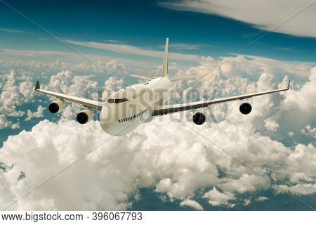3d Rendering Of A Commercial Airplane On Flight Over The Clouds.