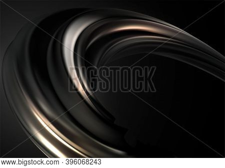 Abstract Background With Black Gold 3d Wave On Black Background For Concept Design. Realistic Metali