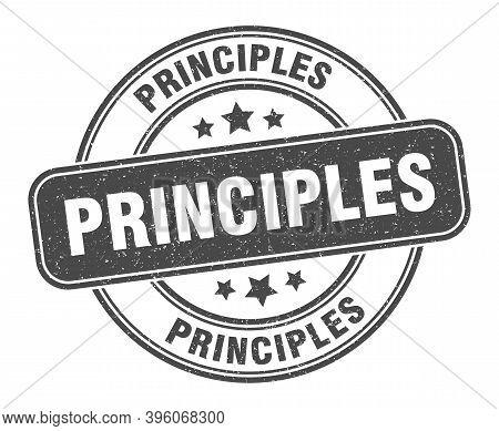 Principles Stamp. Principles Label. Round Grunge Sign