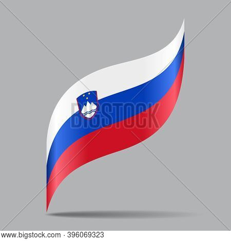 Slovenian Flag Wavy Abstract Background. Vector Illustration.
