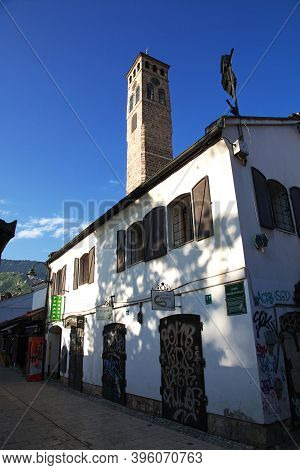 Sarajevo, Bosnia And Herzegovina - 28 Apr 2018: The Mosque In Sarajevo City, Bosnia And Herzegovina