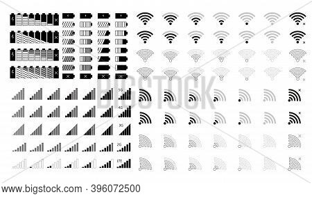 Phone Signal And Battery Icons. The Top Icon Of The Mobile Interface Is Set For Network Signals And