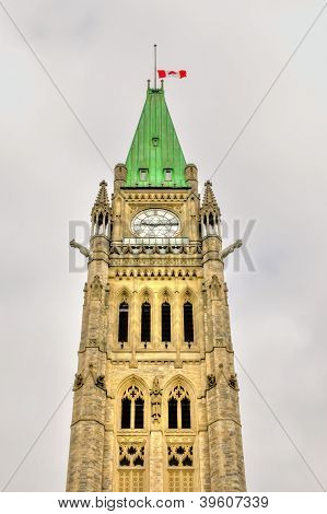Part Of The Clock Tower Of The Parliament Buildings In Ottawa, Canada Hdr Image
