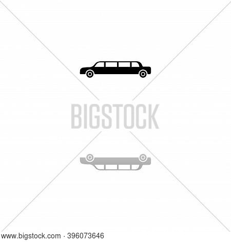 Limousine. Black Symbol On White Background. Simple Illustration. Flat Vector Icon. Mirror Reflectio