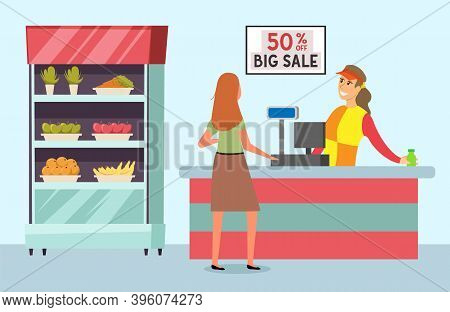 Buyer Is Shopping In The Grocery Store With Purchases. Supermarket Sales And Discounts Concept. Shop